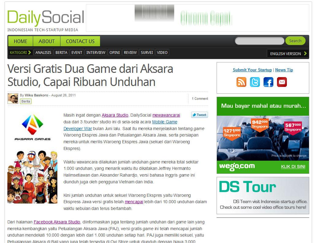 Aksara Studio's Game on DailySocial