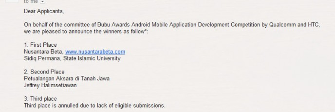 2nd Place Bubu Awards v0.7 Android Mobile App Development Competition