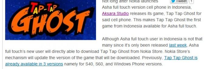 Tap Tap Ghost for Nokia Asha Full Touch on DailySocial